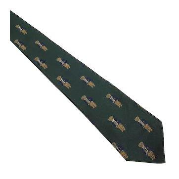Vintage Ralph Lauren Wide Green Silk Tie ~ Polo Bear in Suit & Rep Tie