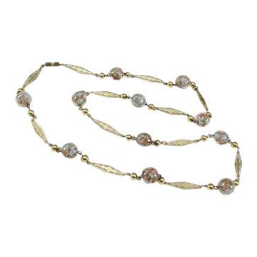 Aqua & Copper / Gold Fluss Venetian Glass Beads Necklace Fancy Stations