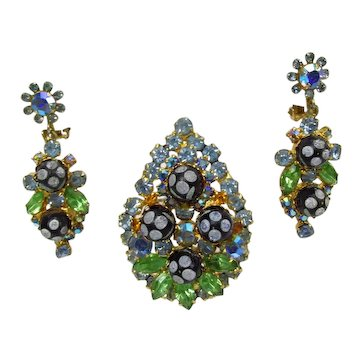 Juliana Polka Dot Pin / Pendant & Dangle Earrings ~ Blue & Green RS