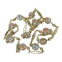 Venetian Glass Beads ~ Aqua & Copper / Gold Fluss ~ Ornate Stations