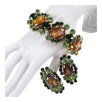 JULIANA Bracelet Earrings ~ Cats Cat's Eye Cabochons & Green Rhinestones