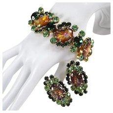 JULIANA Bracelet & Earrings ~ Cat's Eye Cabochons & Green Rhinestones