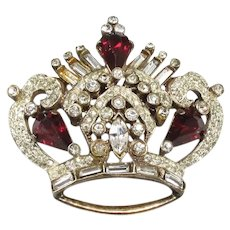 Adolph KATZ ~ CORO Pegasus Sterling Crown Brooch ~ 1946 ~ X-RARE