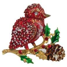 Red Enamel Bird Brooch ~ Snow, Holly & Pine Cone ~ Vintage Figural