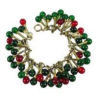 RARE 1930s LEO GLASS Brass Bracelet ~ Red & Green Glass Bead Dangles