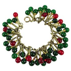 RARE 1930s LEO GLASS Brass Bracelet ~ Red & Green Glass Bead Dangles