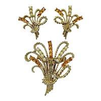 CORO Brooch Earrings Set ~ Sprays of Citrine Rhinestones, Faux Pearls