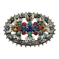 Late Victorian to Early Art Deco Brooch ~ Multicolored Rhinestones