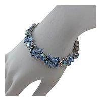 TRIFARI Link Bracelet ~ Cornflower Blue Rhinestones ~ Vintage