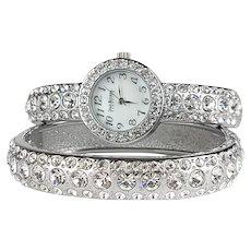 Joan Rivers Cuff Watch & Bangle Set ~ Glittering Crystals Galore!