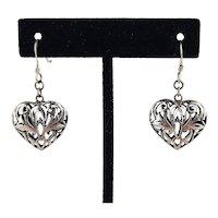 Sterling Puffy Heart Earrings ~ Pierced ~ 1970s ~ Vintage