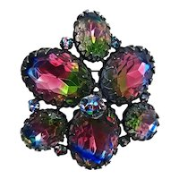 SCHREINER Brooch ~ HUGE Iris Glass Stones & Chatons ~ A Riot of Color!