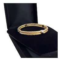 1970s Christian Dior ~ 18K Gold Plate ~ Twisted Double Cable Bangle