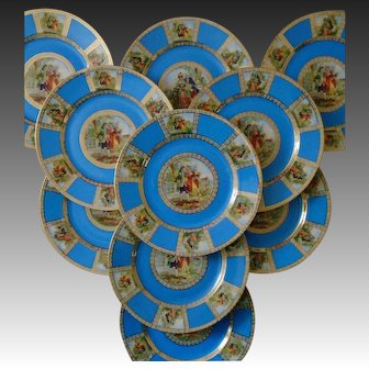 Set of 10 Epiag Royal Dinner Cabinet Plates Romantic Edwardian Scenes Blue & Gold Czechoslovakia Czech Bohemian #5559 Fine China