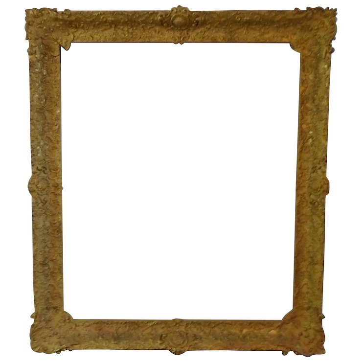 LARGE 19c Antique Gilt Wood & Gesso French Baroque Style Picture ...