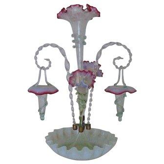 Antique Victorian Epergne Opalescent Glass Cranberry or Ruby Trim Vase c. 1880 MUSEUM QUALITY Art Nouveau