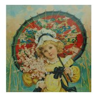 19c Antique Victorian Print of Little Girl Child w/ Pink Flowers & Red Parasol in Gilt Wood Frame