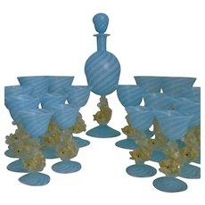 Murano Venetian Glass Decanter & 16 Glasses Wine Champagne Brandy Cordial Gold Flecked Dolphin Stems Blue & White Latticino Vintage Italian Italy Stemware