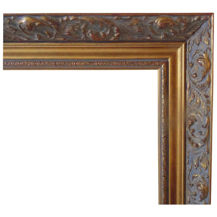 LARGE Vintage Gold Picture Wood Frame w/ Rococo Swirls for Painting ...