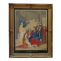 HUGE Antique Jesus Christ Needlepoint Picture in Original Ornate Wood Frame Needlework Religious MUSEUM QUALITY