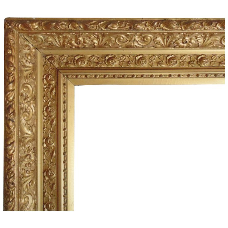 LARGE 19c Antique Picture Frame Gilt Wood & Gesso Victorian Roses ...