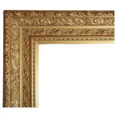 """LARGE 19c Antique Picture Frame Gilt Wood & Gesso Victorian Roses for Painting, Mirror, Print Gold 21 1/2"""" x 32 1/2"""" Opening"""