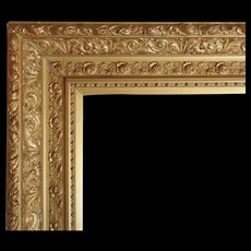"LARGE 19c Antique Picture Frame Gilt Wood & Gesso Victorian Roses for Painting, Mirror, Print Gold 21 1/2"" x 32 1/2"" Opening"