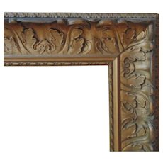 """LARGE 19c Antique Wood & Gesso Acanthus Leaf Picture Frame for Painting Print or Mirror 36"""" x 21"""". Opening"""