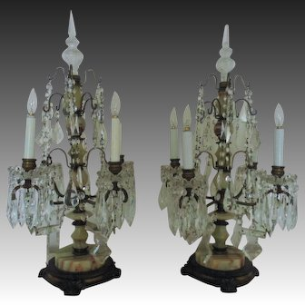 Pair French Candelabra Lamps Art Deco Bronze & Onyx France Vintage Dripping Crystal Glass Prisms Lustres Table Chandeliers Girandoles