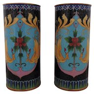 Rare Pair Antique 19c Chinese Enameled Cloisonne & Brass Vases w/ Birds Art Nouveau Hat Stands