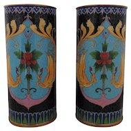Rare Pair Antique 19c Chinese Enameled Cloisonne & Brass Vases w/ Birds Art Nouveau Hat Stands
