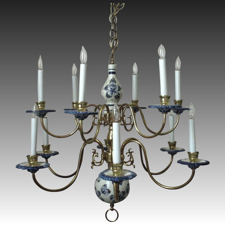 Superb vintage delft chandelier two tier blue white pottery superb vintage delft chandelier two tier blue white pottery brass mozeypictures