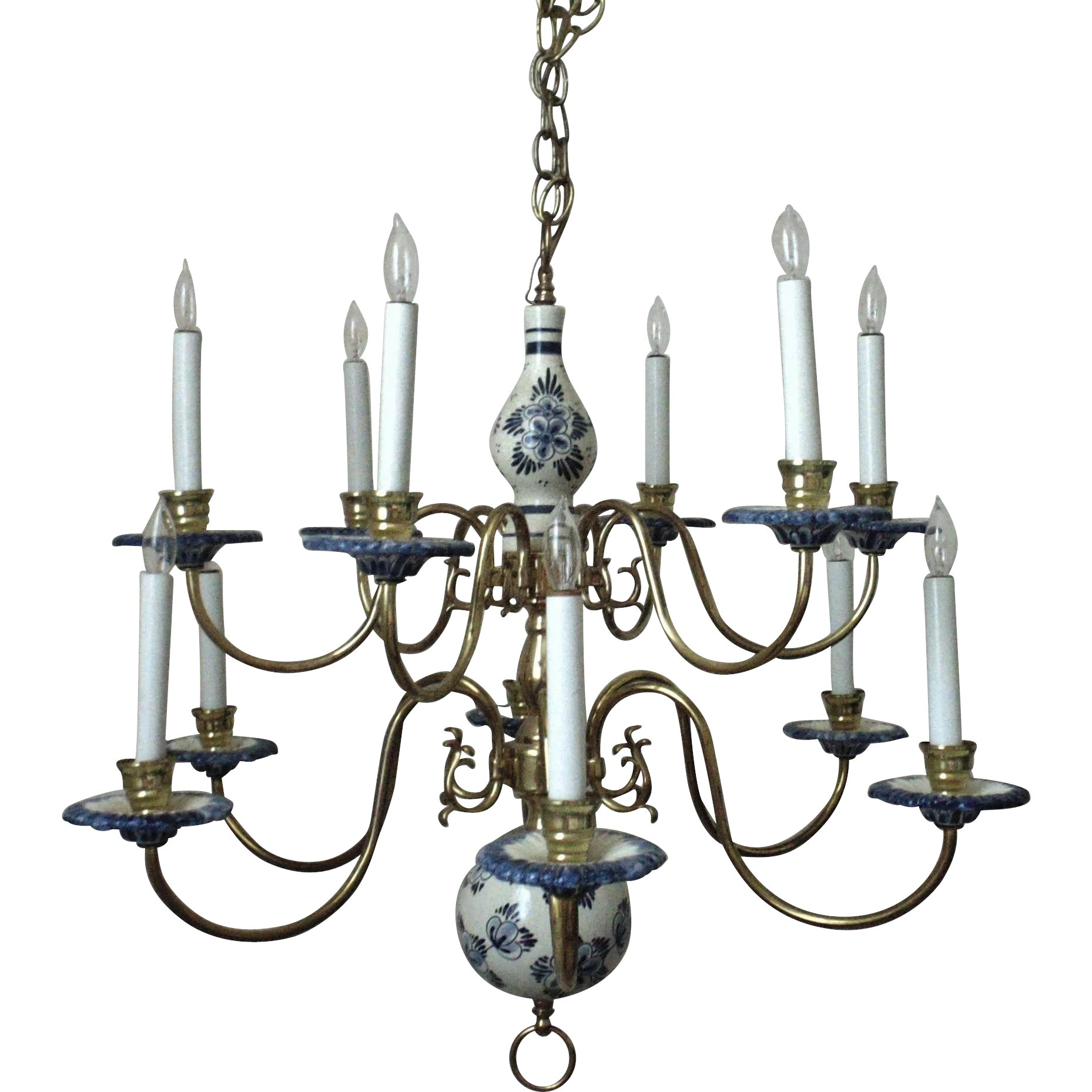 Superb vintage delft chandelier two tier blue white pottery superb vintage delft chandelier two tier blue white pottery brass coyote moon antiques ruby lane mozeypictures Gallery