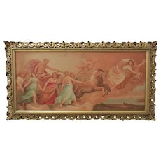 Antique 19c Apollo's Chariot Chromolithograph Print w/ Gilt Wood Picture Frame Neo-Classical Maidens Horses Angels Cherubs