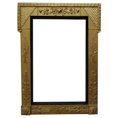 """LARGE 19c Victorian Picture Frame Gilt Wood & Gesso Aesthetic Eastlake for Painting Mirror or Print Antique c. 1870-80 Butterfly Flowers Floral  16 1/2"""" x 25 1/2"""" Opening"""