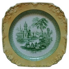 "Antique George Jones ""Marlborough"" Transferware Platter Cabinet Plate Charger Yellow & Green England English"