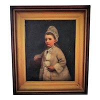 LARGE Antique 19c Portrait Painting Little Girl Child Oil on Canvas w/ Walnut & Gilt Wood & Gesso Frame