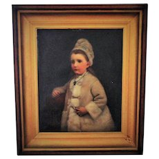LARGE Antique 19c Portrait Painting Little Girl Child Oil on Canvas w/ Walnut & Gilt Wood & Gesso Frame