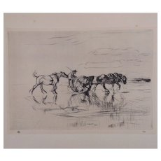 "Antique Edmund Blampied Dry Point Etching Print ""Reflections"" c. 1926"