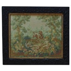 Antique 19c English Baroque Tapestry w/ Dog & Pheasant Animals Hunting Framed c. 1840