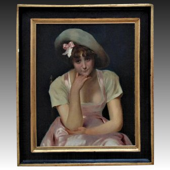 Antique French Portrait Painting Woman Lady in Pink 19c Oil on Canvas w/ Wood Frame France