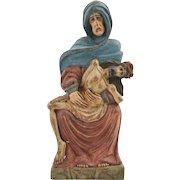 19c Carved Wood Pieta Madonna Virgin Mary & Jesus Religious Reliquary Polychrome Figure Sculpture Santos Signed Moskata