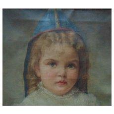 19c Little Girl Portrait Painting Oil on Canvas Victorian Child Signed Antique