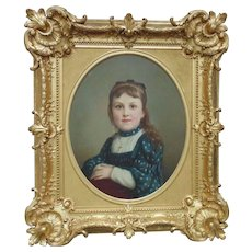 19th c. French Victorian Little Girl Portrait Oil Painting w/ Gilt Wood Antique Picture Frame Signed Edouard Amable Onslow c. 1892 Young Lady Child