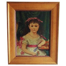 19th c. Richard L. Alldridge Little Girl Portrait Oil Painting on Board Antique Victorian Young Lady English England Child