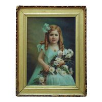 Victorian Pastel Portrait Girl Child w/ Flowers Signed Antrim Landsy c. 1909 Antique Painting Framed Gilt Wood & Gesso Painting