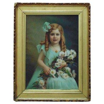 Victorian Pastel Portrait Girl Child w/ Flowers Signed Antrim Landsy c. 1909 Antique Painting Framed Gilt Wood & Gesso