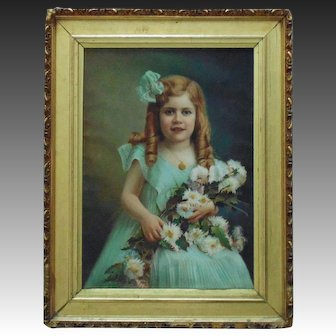 Victorian Pastel Portrait Girl Child w/ Flowers Signed Antrim Landsy c. 1909 Antique Painting Framed Gilt Wood & Gesso