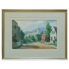 Vintage Rockport Massachusetts Watercolor Painting Signed Edith Knowlton