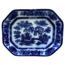 LARGE 19th c. Flow Blue & White P. W. & Co. Turkey Platter Podmore Walker & Co. Manilla Ironstone Transferware Stoneware Antique English England